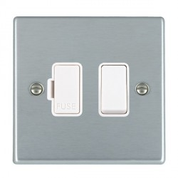 Hamilton Hartland Satin Chrome 1 Gang 13A Fused Spur, Double Pole with White Insert & White Switch