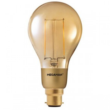Megaman Filament Gold 3W 2200K Dimmable B22 LED A75 Bulb