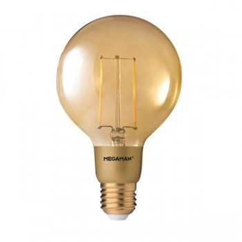 Megaman Filament Gold 3W 2200K Dimmable E27 LED G95 Bulb