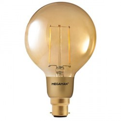 Megaman Filament Gold 3W 2200K Dimmable B22 LED G95 Bulb