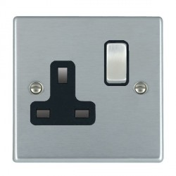 Hamilton Hartland Satin Chrome 1 Gang 13A Switched Socket - Double Pole with Black Insert