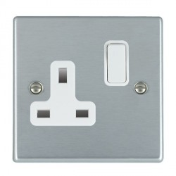 Hamilton Hartland Satin Chrome 1 Gang 13A Switched Socket - Double Pole with White Insert