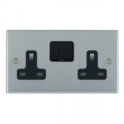Hamilton Hartland Satin Chrome 2 Gang 13A Switched Socket - Double Pole with Black Insert