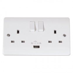 Click Mode Double 13Amp White PVC Socket with USB Outlet