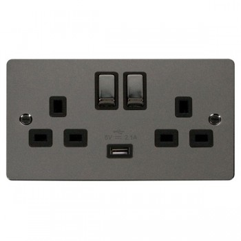 Click Define Black Nickel Flat Plate Ingot 2 Gang 13A Single Pole Switched Socket with Black Insert and USB Outlet