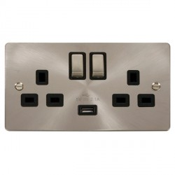 Click Define Brushed Steel Flat Plate Ingot 2 Gang 13A Single Pole Switched Socket with Black Insert and USB Outlet