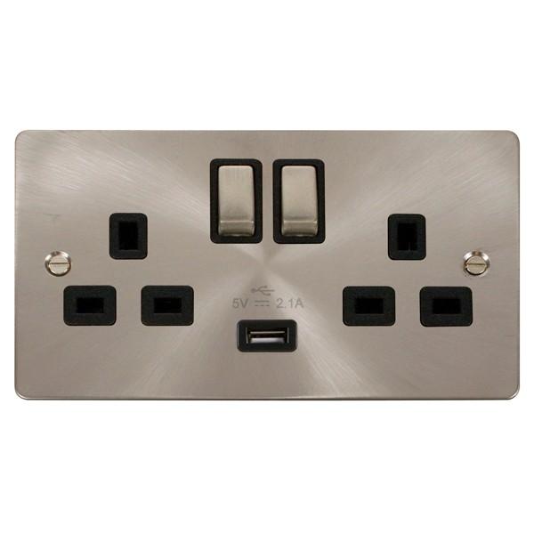 Single Telephone Extension Socket Flat Plate Satin Brushed Stainless Steel Slim