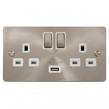 Click Define Brushed Steel Flat Plate Ingot 2 Gang 13A Single Pole Switched Socket with White Insert and USB Outlet