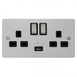 Click Define Polished Chrome Flat Plate Ingot 2 Gang 13A Single Pole Switched Socket with Black Insert and USB Outlet