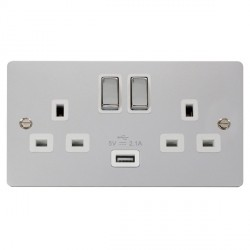 Click Define Polished Chrome Flat Plate Ingot 2 Gang 13A Single Pole Switched Socket with White Insert and USB Outlet