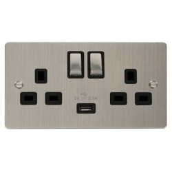 Click Define Stainless Steel Flat Plate Ingot 2 Gang 13A Single Pole Switched Socket with Black Insert and USB Outlet