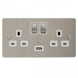 Click Define Stainless Steel Flat Plate Ingot 2 Gang 13A Single Pole Switched Socket with White Insert and USB Outlet