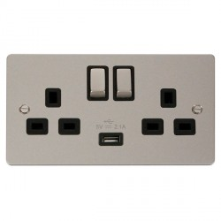 Click Define Pearl Nickel Flat Plate Ingot 2 Gang 13A Single Pole Switched Socket with Black Insert and USB Outlet