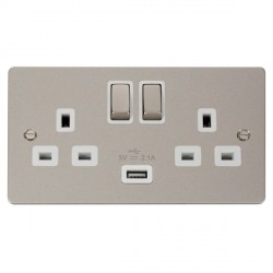Click Define Pearl Nickel Flat Plate Ingot 2 Gang 13A Single Pole Switched Socket with White Insert and USB Outlet