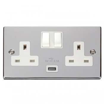 Click Deco Victorian Polished Chrome 2 Gang 13A Single Pole Switched Socket with White Insert and USB Outlet