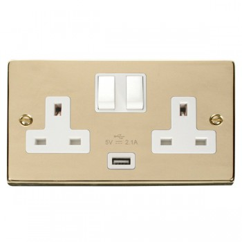 Click Deco Victorian Polished Brass 2 Gang 13A Single Pole Switched Socket with White Insert and USB Outlet
