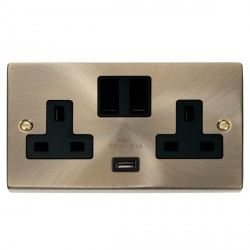 Click Deco Victorian Antique Brass 2 Gang 13A Single Pole Switched Socket with Black Insert and USB Outlet