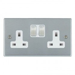 Hamilton Hartland Satin Chrome 2 Gang 13A Switched Socket - Double Pole with White Insert