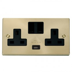 Click Deco Victorian Satin Brass 2 Gang 13A Single Pole Switched Socket with Black Insert and USB Outlet