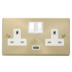 Click Deco Victorian Satin Brass 2 Gang 13A Single Pole Switched Socket with White Insert and USB Outlet