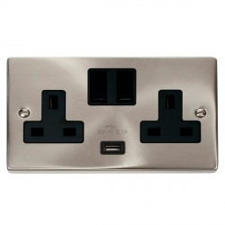 Click Deco Victorian Satin Chrome 2 Gang 13A Single Pole Switched Socket with Black Insert and USB Outlet