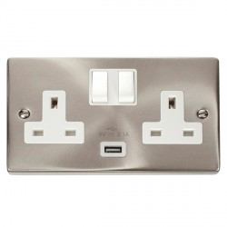 Click Deco Victorian Satin Chrome 2 Gang 13A Single Pole Switched Socket with White Insert and USB Outlet