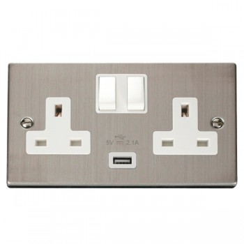 Click Deco Victorian Stainless Steel 2 Gang 13A Single Pole Switched Socket with White Insert and USB Outlet
