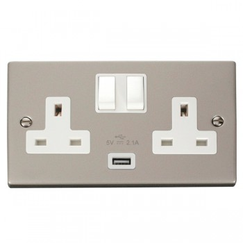 Click Deco Victorian Pearl Nickel 2 Gang 13A Single Pole Switched Socket with White Insert and USB Outlet