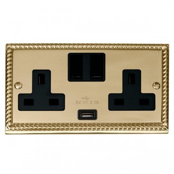 Click Deco Georgian Cast Brass 2 Gang 13A Single Pole Switched Socket with Black Insert and USB Outlet