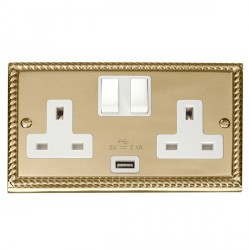 Click Deco Georgian Cast Brass 2 Gang 13A Single Pole Switched Socket with White Insert and USB Outlet