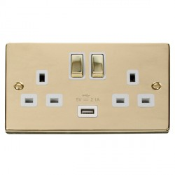 Click Deco Victorian Polished Brass 2 Gang 13A Single Pole Ingot Switched Socket with White Insert and USB Outlet