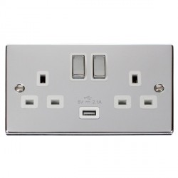 Click Deco Victorian Polished Chrome 2 Gang 13A Single Pole Ingot Switched Socket with White Insert and USB Outlet