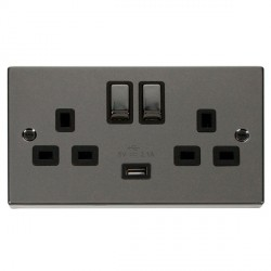 Click Deco Victorian Black Nickel 2 Gang 13A Single Pole Ingot Switched Socket with Black Insert and USB ...