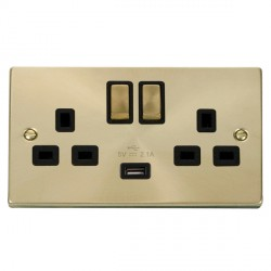 Click Deco Victorian Satin Brass 2 Gang 13A Single Pole Ingot Switched Socket with Black Insert and USB Outlet