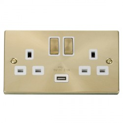 Click Deco Victorian Satin Brass 2 Gang 13A Single Pole Ingot Switched Socket with White Insert and USB Outlet