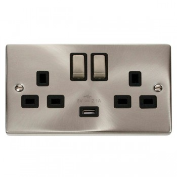 Click Deco Victorian Satin Chrome 2 Gang 13A Single Pole Ingot Switched Socket with Black Insert and USB Outlet