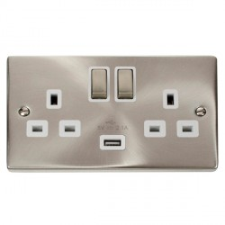 Click Deco Victorian Satin Chrome 2 Gang 13A Single Pole Ingot Switched Socket with White Insert and USB Outlet