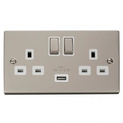 Click Deco Victorian Pearl Nickel 2 Gang 13A Single Pole Ingot Switched Socket with White Insert and USB Outlet