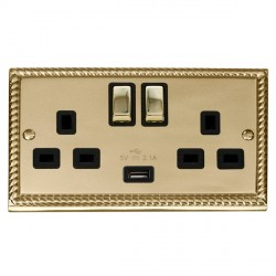 Click Deco Georgian Cast Brass 2 Gang 13A Single Pole Ingot Switched Socket with Black Insert and USB Outlet