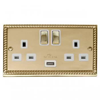 Click Deco Georgian Cast Brass 2 Gang 13A Single Pole Ingot Switched Socket with White Insert and USB Outlet