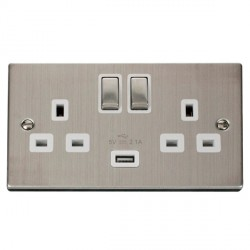 Click Deco Victorian Stainless Steel 2 Gang 13A Single Pole Ingot Switched Socket with White Insert and USB Outlet
