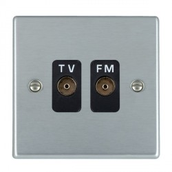 Hamilton Hartland Satin Chrome 2 Gang Isolated Television/FM 1in/2out with Black Insert