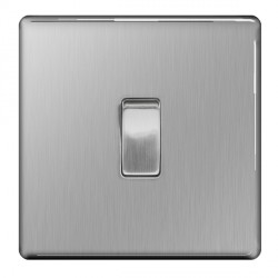 BG Nexus Flatplate Screwless Brushed Steel 10A 1 Gang Intermediate Switch