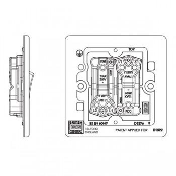 BG Nexus Flatplate Screwless Brushed Steel 10A 2 Gang 2 Way Switch