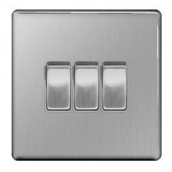 BG Nexus Flatplate Screwless Brushed Steel 10A 3 Gang 2 Way Switch