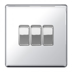 BG Nexus Flatplate Screwless Polished Chrome 10A 3 Gang 2 Way Switch