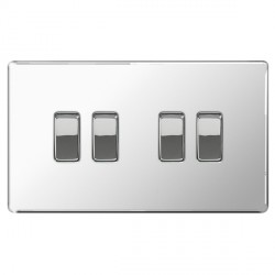 BG Nexus Flatplate Screwless Polished Chrome 10A 4 Gang 2 Way Switch