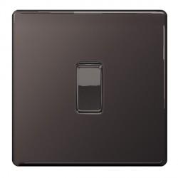 BG Nexus Flatplate Screwless Black Nickel 10A 1 Gang Intermediate Switch