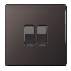 BG Nexus Flatplate Screwless Black Nickel 10A 2 Gang 2 Way Switch