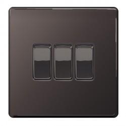 BG Nexus Flatplate Screwless Black Nickel 10A 3 Gang 2 Way Switch